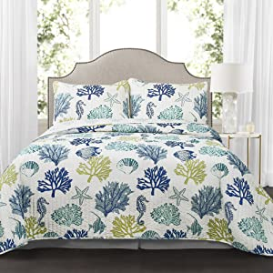 Lush Decor Reversible 7 Piece Bedding Set with Feather Seashell Design-Full Queen-Blue and Navy Coastal Reef Quilt, Navy & Blue