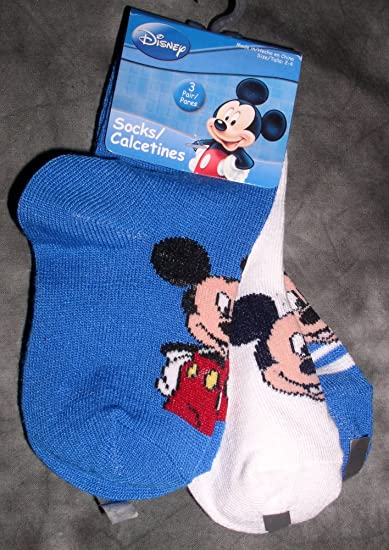 Disney Baby Mickey Mouse Low Cut Socks, 3 Pair, Size 2-4