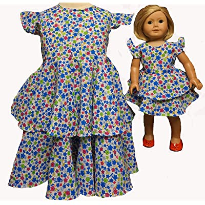 Doll Clothes Superstore Size 4 Matching Girl and Doll Dresses with Lots of Flowers and Ruffles: Toys & Games [5Bkhe0302496]