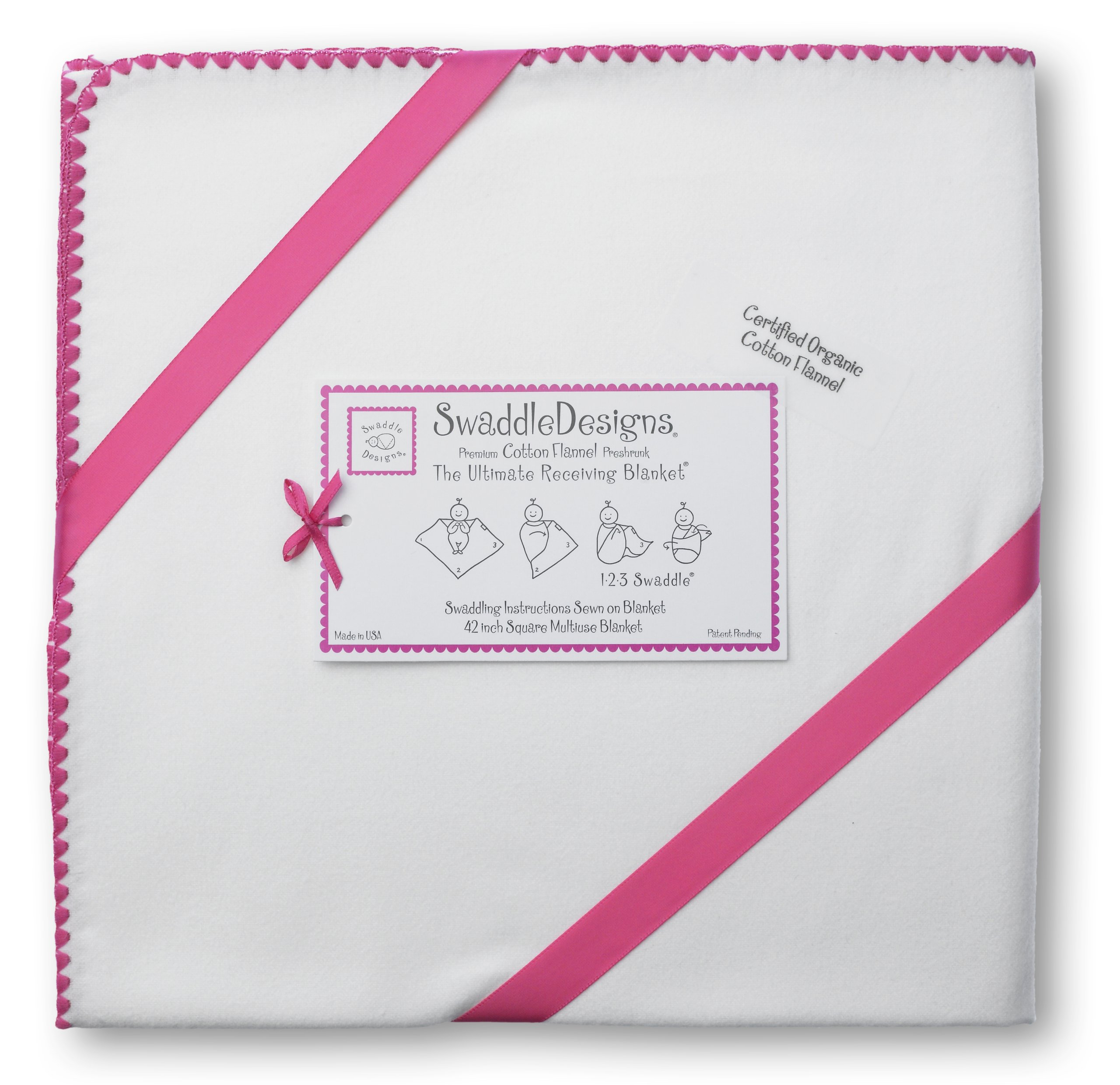 SwaddleDesigns Organic Ultimate Swaddle Blanket, Made in USA Premium Cotton Flannel, Ivory with Color Trim, Fuchsia