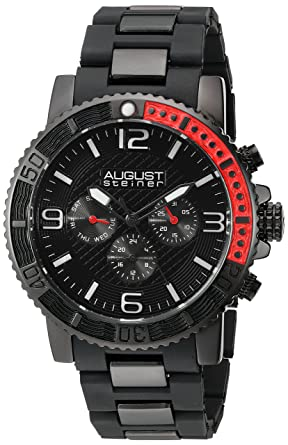 c40c2338165fa Image Unavailable. Image not available for. Color  August Steiner Men s  AS8179BK Black Multifunction Quartz Watch with Black Dial and Black Bracelet