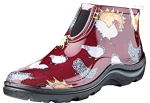 Sloggers Women's Waterproof Rain and Garden Ankle Boot with Comfort Insole, Chickens Barn Red, Size 8, Style 2841CBR08