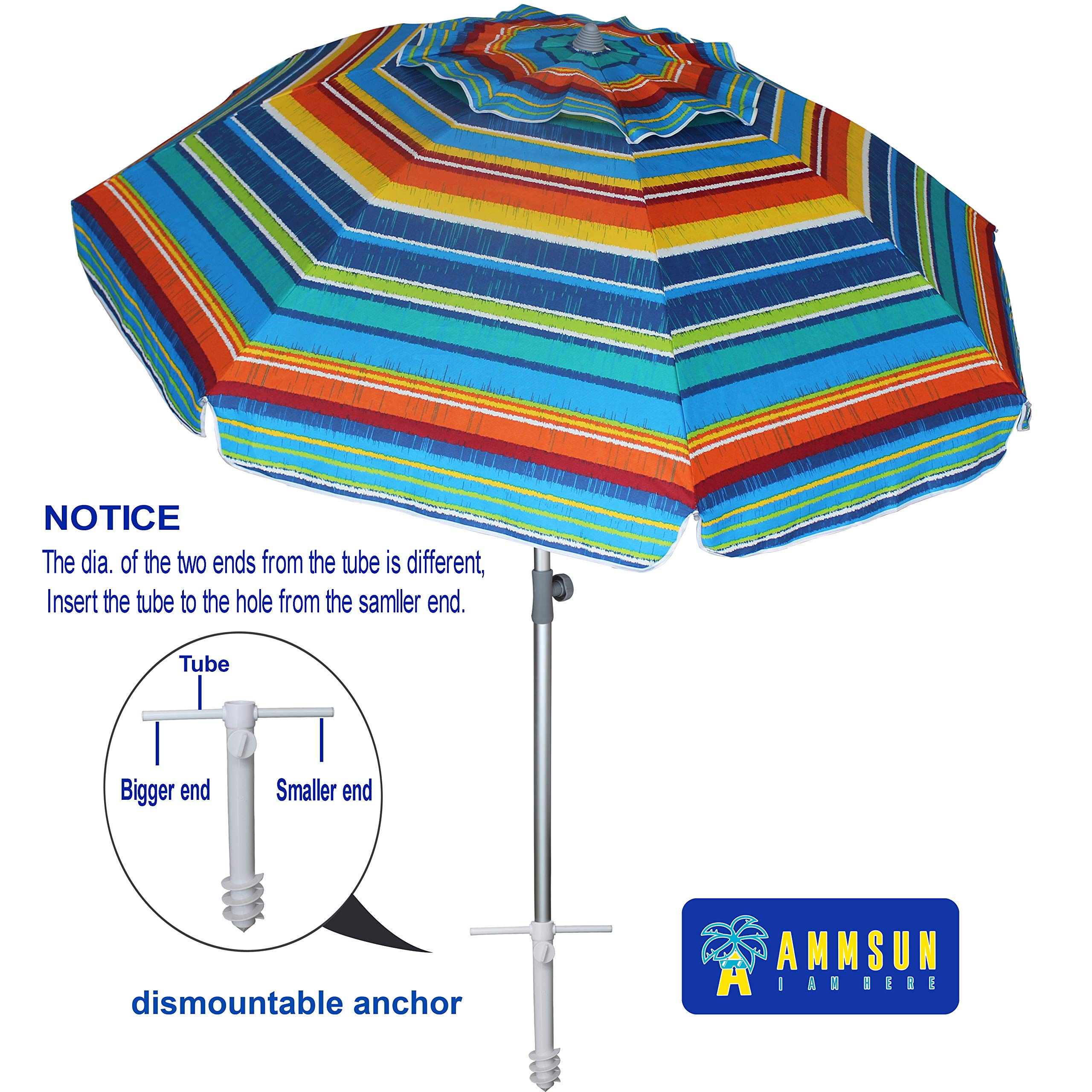 AMMSUN 7ft Beach Umbrella With Sand Anchor Adjustable Height with air Vent Zinc Tilt UPF 50+ Silver Coating Inside and Telescoping Pole Multicolor Green