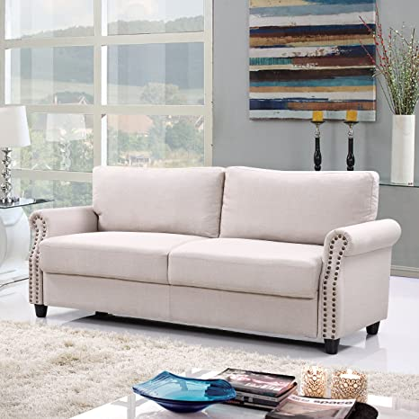 Pleasing Classic Living Room Linen Sofa With Nailhead Trim Furniture With Storage Beige Creativecarmelina Interior Chair Design Creativecarmelinacom