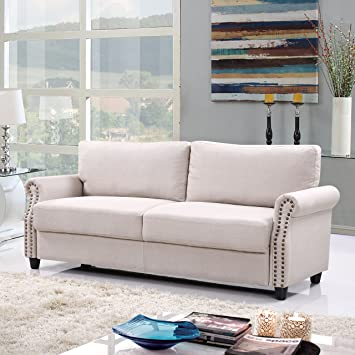 Amazon.com: Classic Living Room Linen Sofa with Nailhead Trim ...