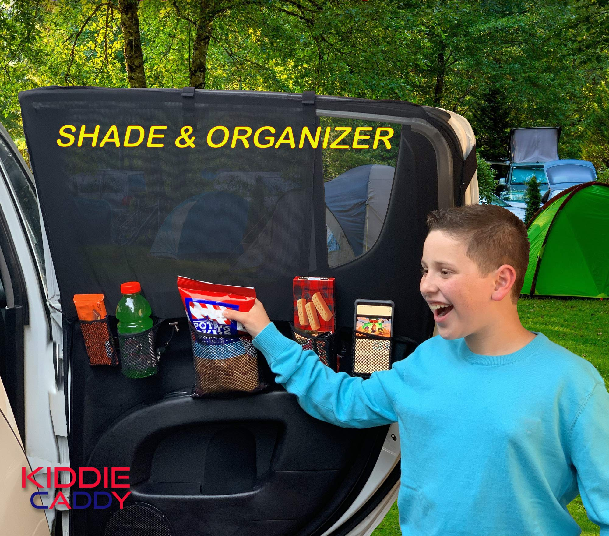 Kiddie Caddy [Patent-Pending] Mesh Car Window Shade and Back Seat Organizer for Kids and Baby Reachable Storage for Toys & Snacks Block UV Rays with 2-Pack Rear Window Sun Shades by  Homey Marketing