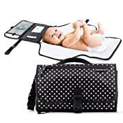Portable Diaper Changing Pad Clutch, Travel Changer Station Kit for Baby and Infant with Extra Long Mat by Pantheon, Holds Diapers and Wipes (Black Polka Dots)