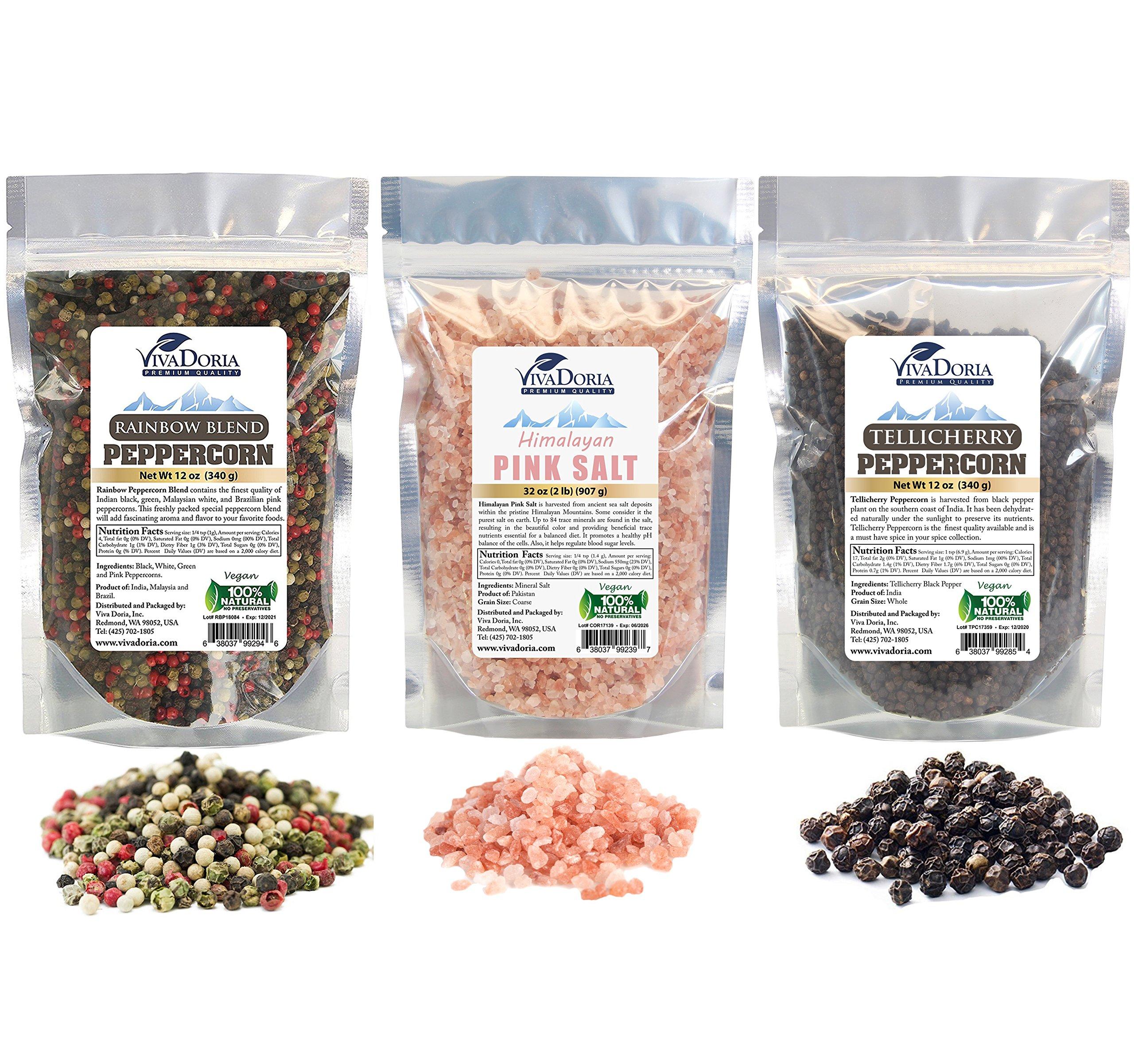 Viva Doria 2 lb Himayalan Pink Salt, 12 oz Tellicherry Peppercorn Whole Black Pepper, 12 oz Rainbow Peppercorn Blend For Grinder Refill