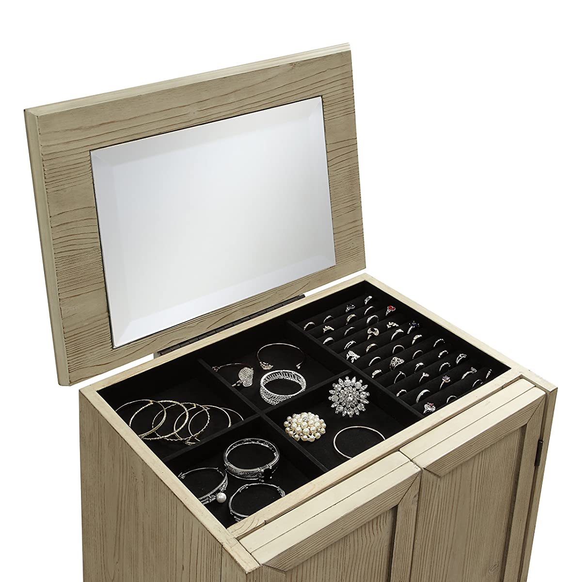 Exclusive 2 Door Large Jewelry Armoire Organizer Cabinet by Kathy Ireland Home from Abington Lane