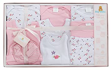 0baf42343a199 Big Oshi 10 Piece Layette Newborn Baby Gift Set for Girls - Great Baby  Shower or