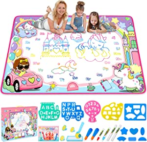 Water Drawing Mat- Kids Painting Writing Doodle Board Toy - Color Doodle Drawing Mat Bring Magic Pens Educational Toys for Age 3 4 5 6 7 8 9 10 11 12 Year Old Girls Boys Age Toddler Gift