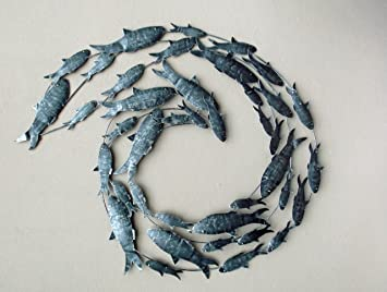 Contemporary Silver Fish Shoal Metal Wall Art   Hand Made