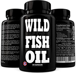 Wild Fish Oil Triple-Strength Omega 3 with Triglyceride DPA DHA & EPA | Burpless, Non-GMO, Gluten-Free & Purity-Tested - Nature's Heart, Brain & Joint Support (60 Softgels)