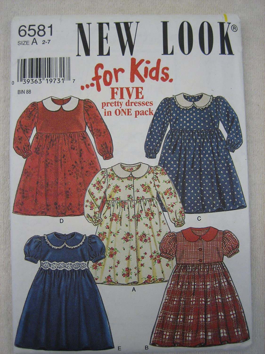 New Look Pattern 6581 Five Dresses in One Pack Size A 2-7 by New Look   B007KHC9AA