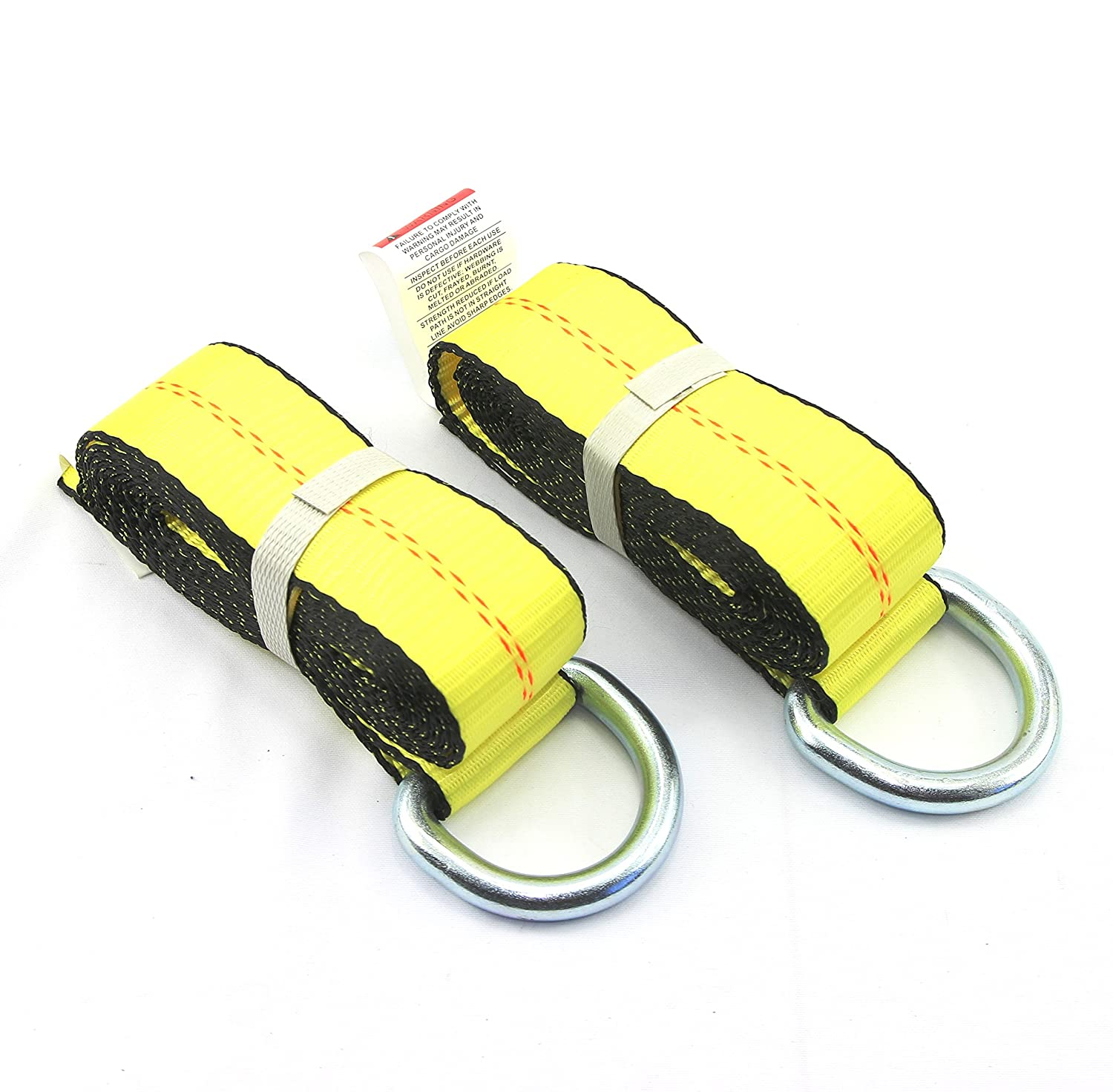 WorldPac (Pack of 6) 2' X 8 Ft Lasso Strap with D Ring Auto Tie Down SturdyBuilt