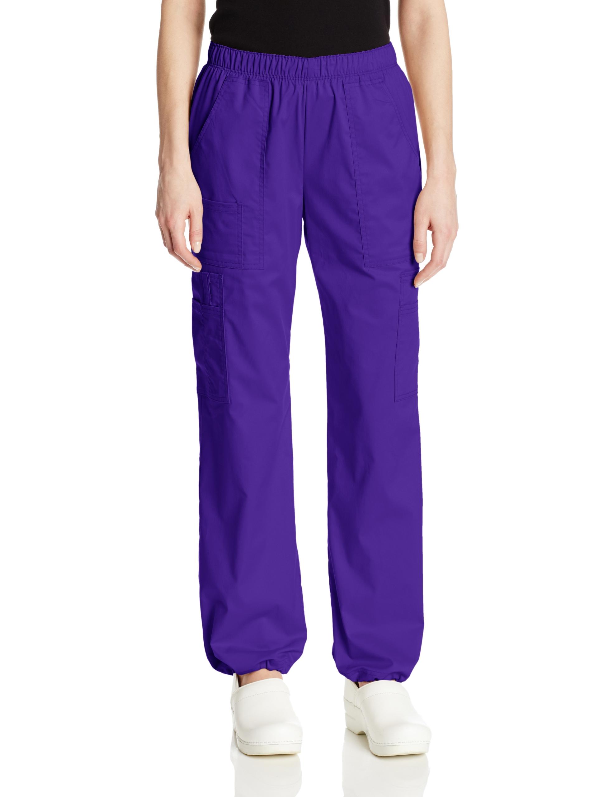 Cherokee Women's Petite Workwear Scrubs Core Stretch Pull-On Cargo Pant, Grape, X-Large-Petite