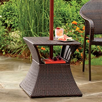 Stratford Umbrella Stand Side Table With Shelf Wicker And Steel Frame