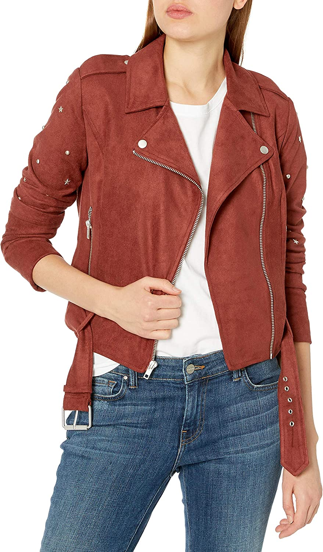 BB Dakota Womens Love Walks in Faux Suede Embellished Moto Jacket