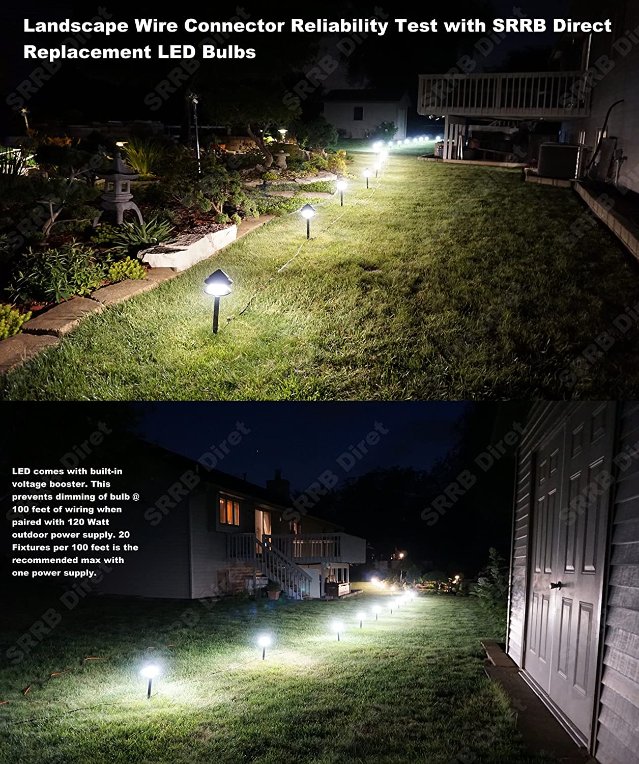 Srrb Direct Low Voltage Replacement Landscape Light 12 Wiring 12v Lights 14 Gauge Cable Connector For Malibu Paradise Moonrays And More Garden Outdoor