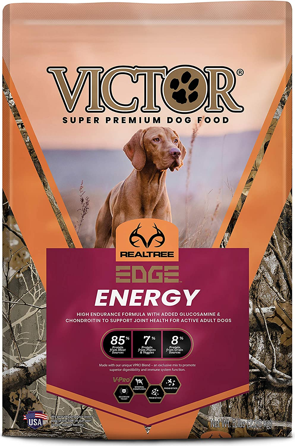 Victor Super Premium Pet Food Realtree Edge Energy, Dry Dog Food, Camo, 5-lb Bag