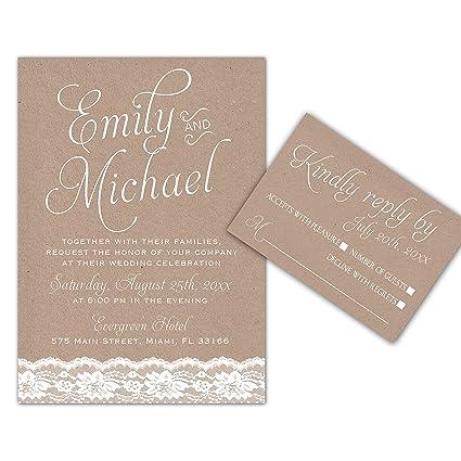 Amazoncom 100 Wedding Invitations Lace Rustic Design Envelopes
