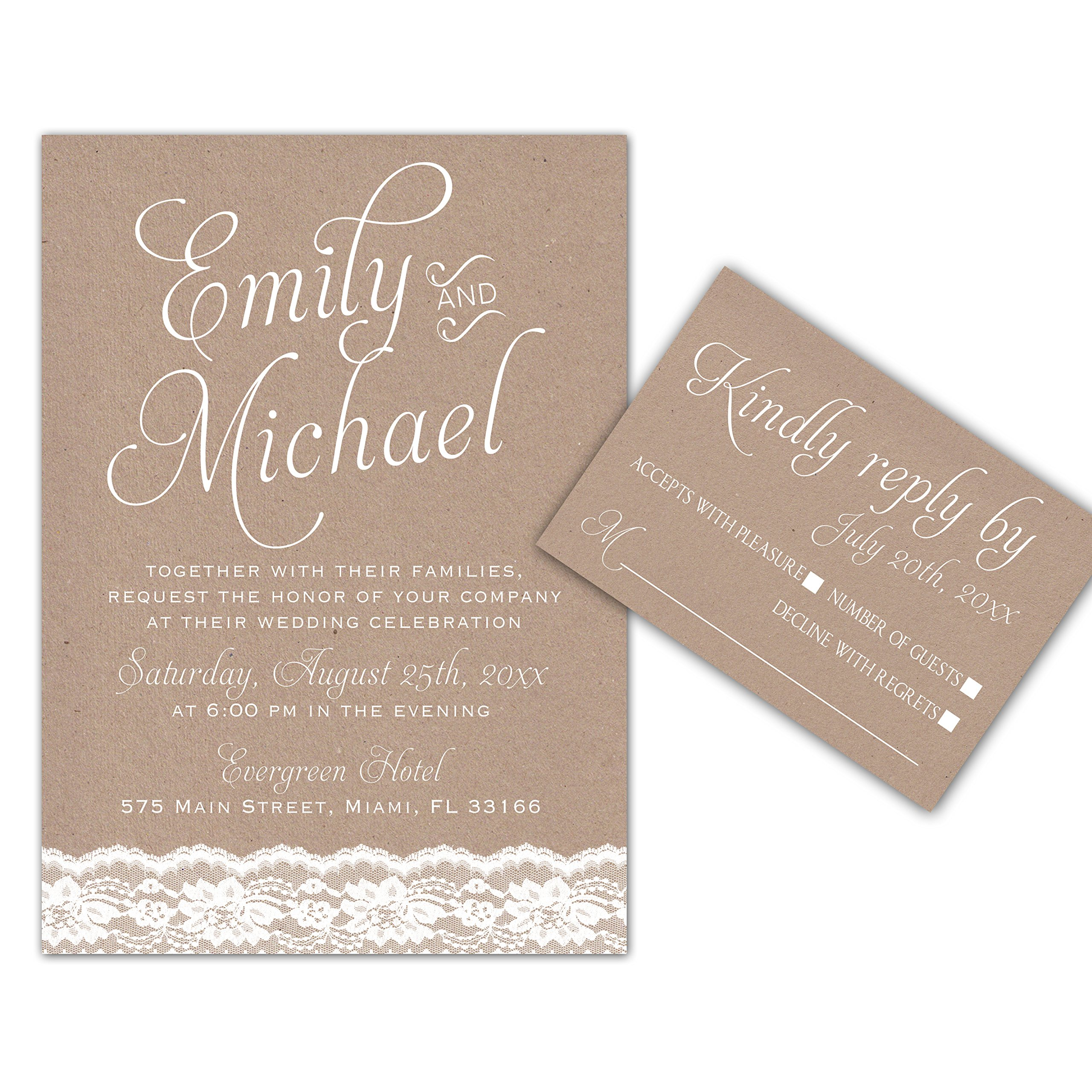 100 Wedding Invitations Lace Rustic Design + Envelopes + Response Cards Set by Pink The Cat