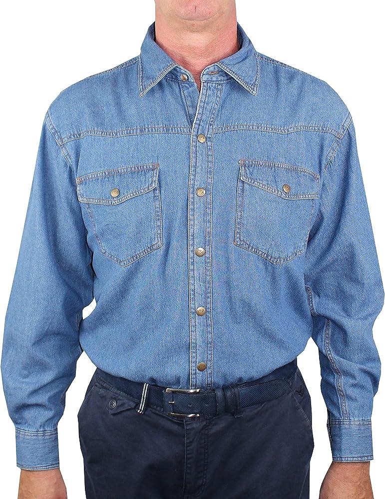 1st American Camisa de Mezclilla Hombre Dos Bolsillos - Blusa de Vaquero de Manga Larga 100% Algodon Stone Wash - Colore Azul Jeans: Amazon.es: Ropa y accesorios