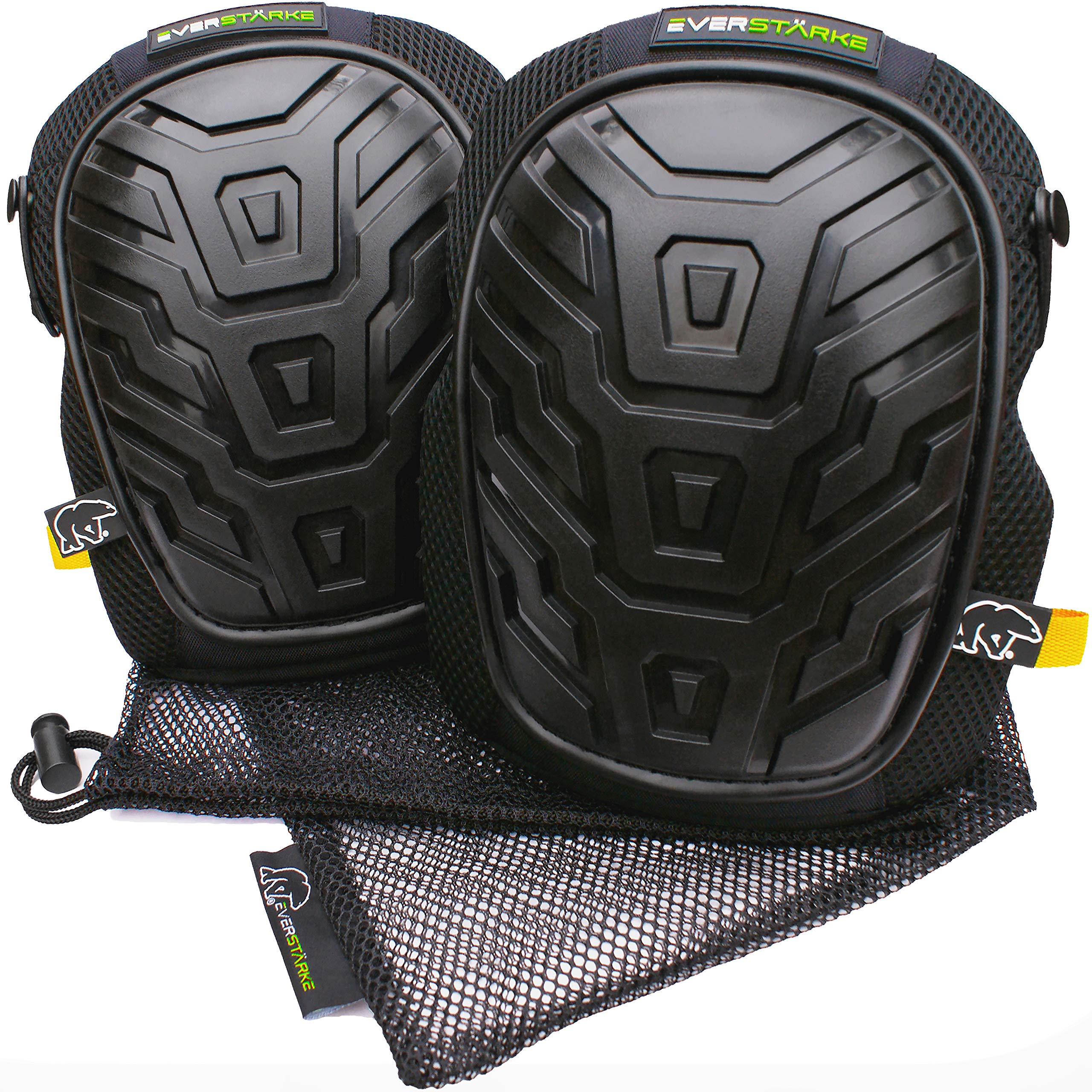 LIMITED TIME OFFER Everstärke Premium Professional Knee Pads - Comfortable Heavy Duty Foam and Soft Gel - Non-Slip Adjustable Velcro and Neoprene Straps - For Construction Work, Gardening, Cleaning