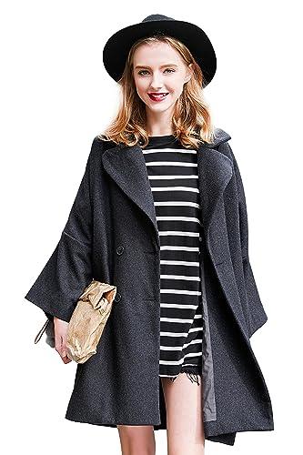 Chaqueta de lana suelta de lana para mujer Oversize Diseñado chaqueta larga para el otoño de primave...
