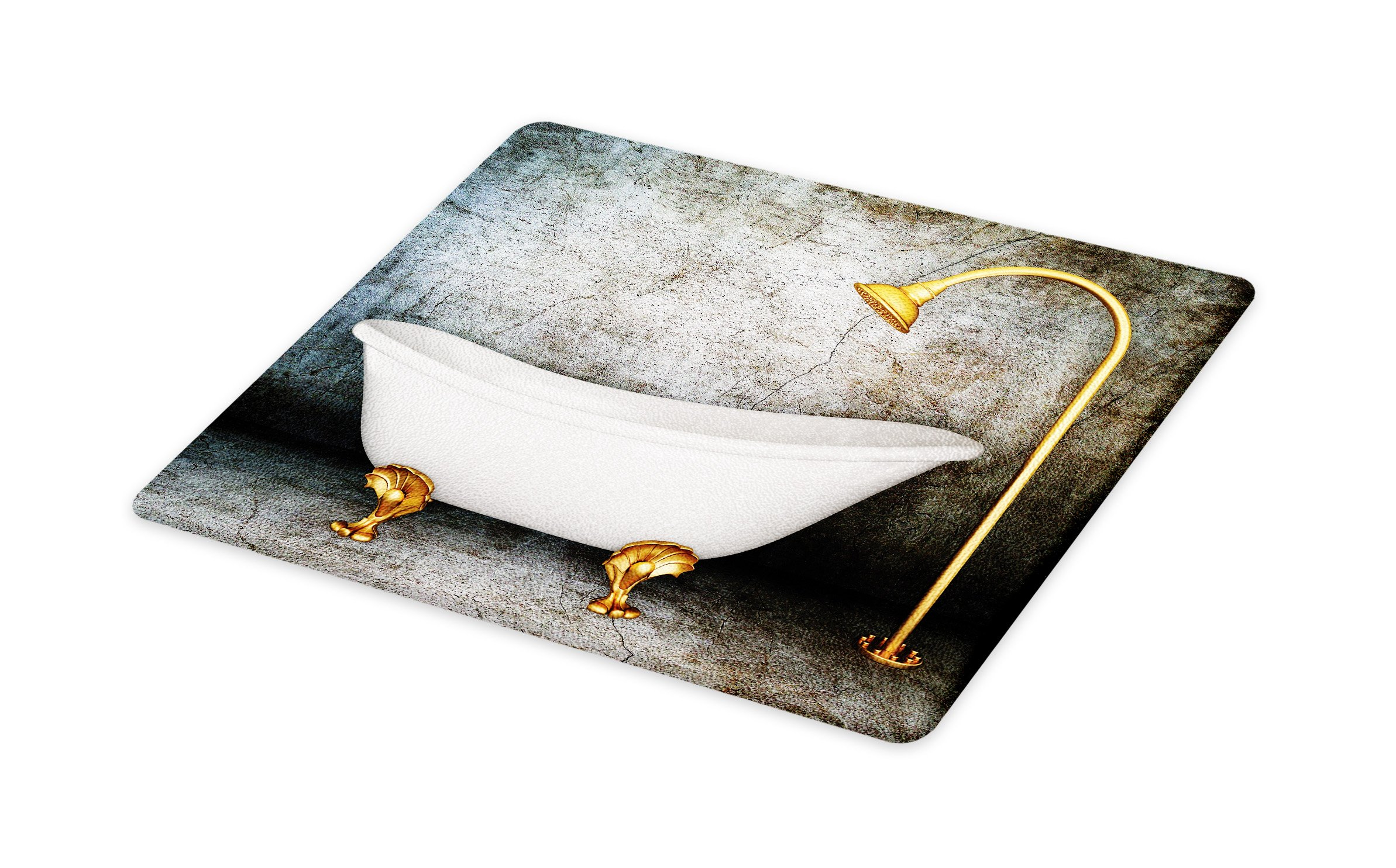 Lunarable Retro Cutting Board, Vintage Bathtub in Room with Grunge Wall Lifestyle Resting Spa Theme Art Print, Decorative Tempered Glass Cutting and Serving Board, Large Size, Grey White Gold