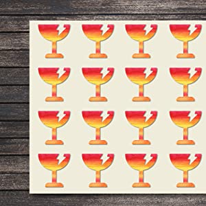 Fragile Beverage Glass Drink Brittle Craft Stickers, 30 Stickers at 1.5 inches, Great Shapes for Scrapbook, Party, Seals, DIY Projects, Item 800598