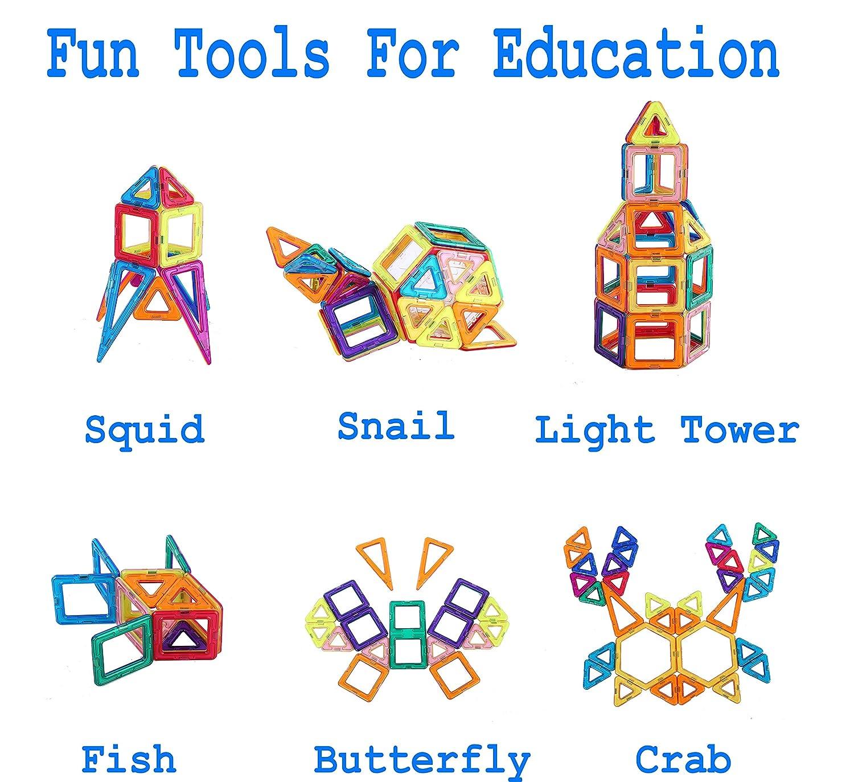 STEM Building Block Preschool Educational Construction Kit/,3D Magnetic Toys STEM Building Block Preschool Educational Construction Kit,3D Magnetic Toys 106 Pieces 106 Pieces DreambuilderToy 106 PCS Magnetic Tiles Set