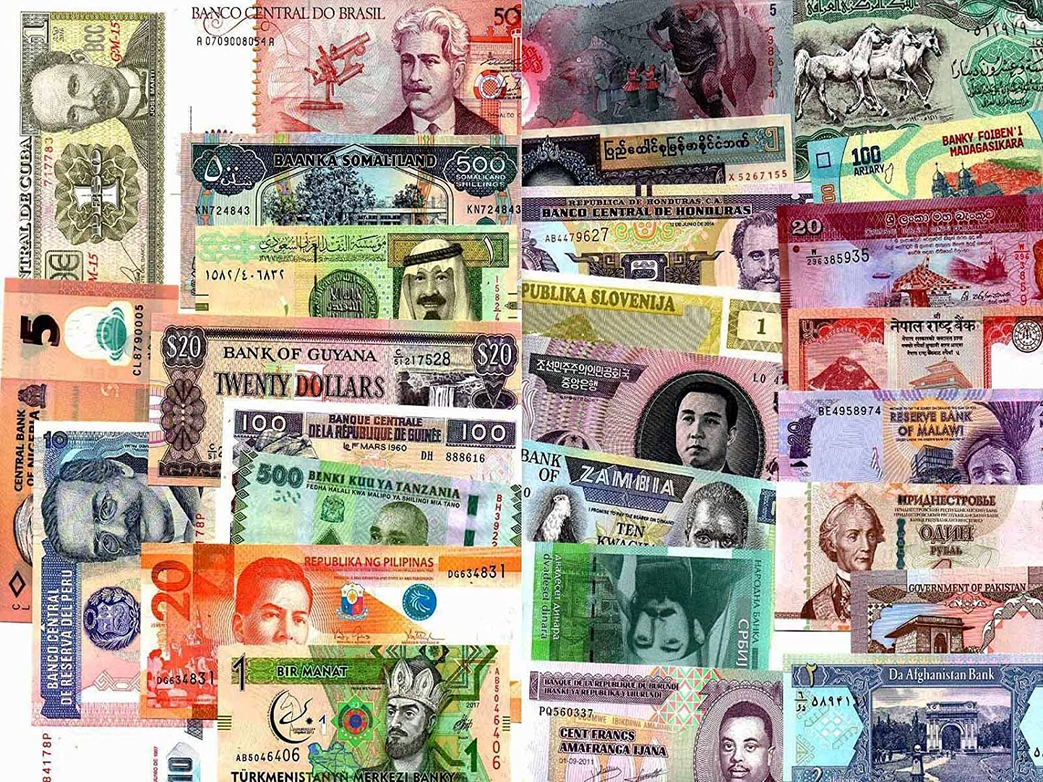 100 Different World  Banknotes Paper Money From 100 Different Countries