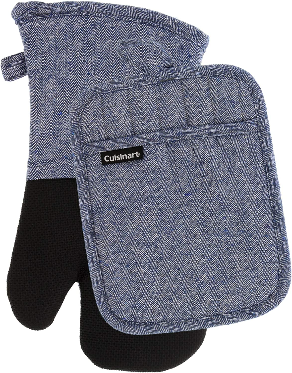 Cuisinart Neoprene Oven Mitts and Potholder Set - Heat Resistant Oven Gloves to Protect Hands and Surfaces with Non-Slip Grip, Hanging Loop - Ideal for Handling Hot Cookware Items - Chevron, Blue