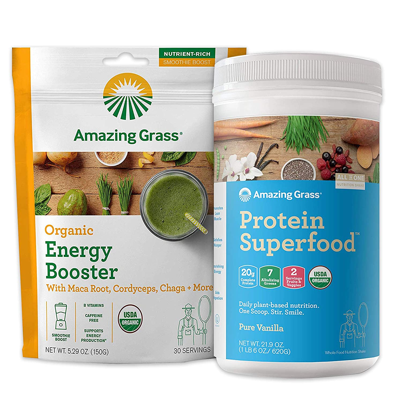 Amazing Grass Protein Superfood & Collagen Booster Bundle - Protein Superfood Powder Pure Vanilla & Energy Greens Powder Smoothie Booster