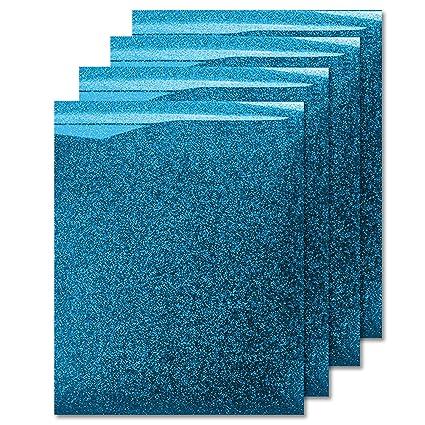 MiPremium Glitter Aqua Heat Transfer Vinyl, Glitter Iron On Vinyl (Pack of  4 Sheets), for T Shirts Sports Clothing Other Garments & Fabrics, Easy to