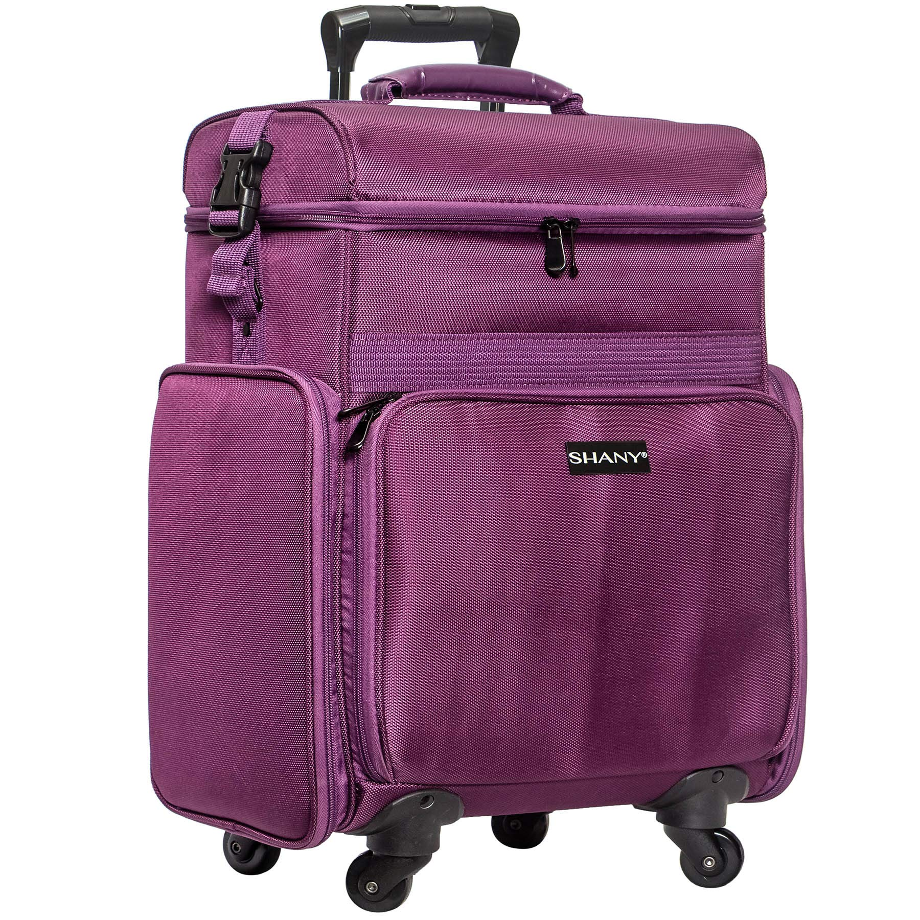 SHANY Soft Rolling Makeup Trolley Case - Multi Compartment with Laptop/iPad Holder - Set of 3 Free Cosmetic Organizers - 360 Wheels - PURPLE