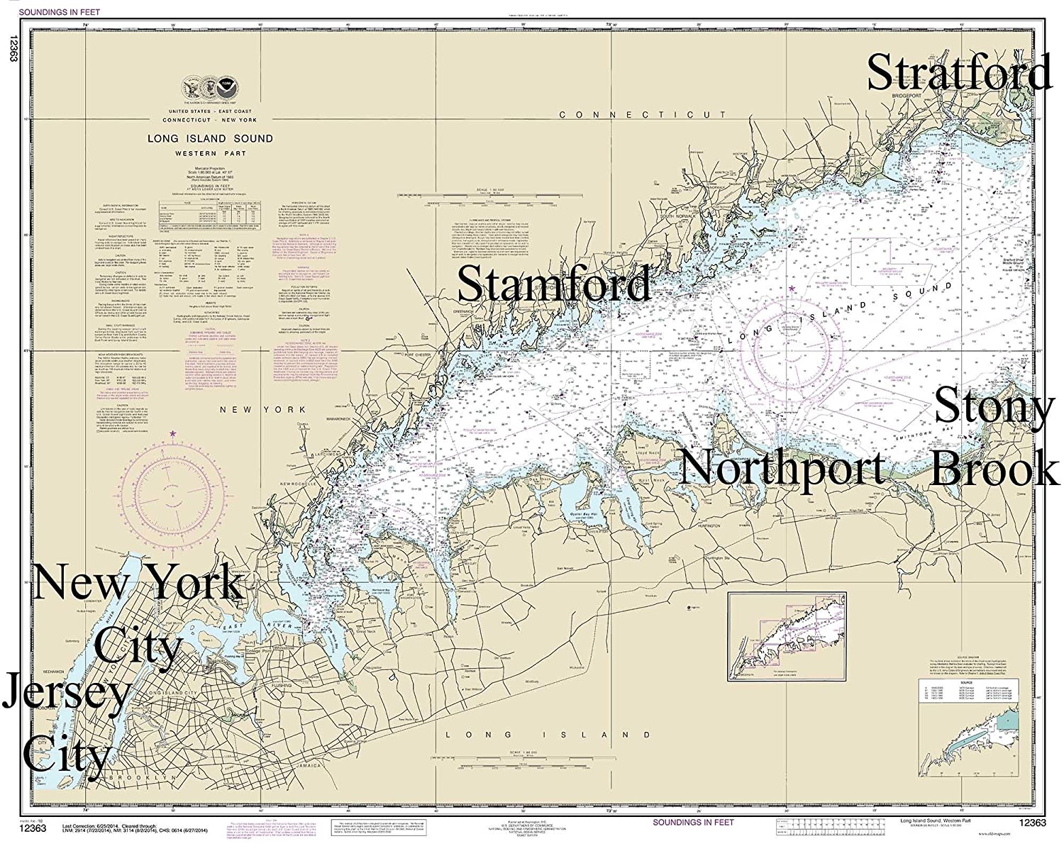 Map Of New York New Jersey And Connecticut.Amazon Com Long Island Sound Western Part 2014 Nautical Map