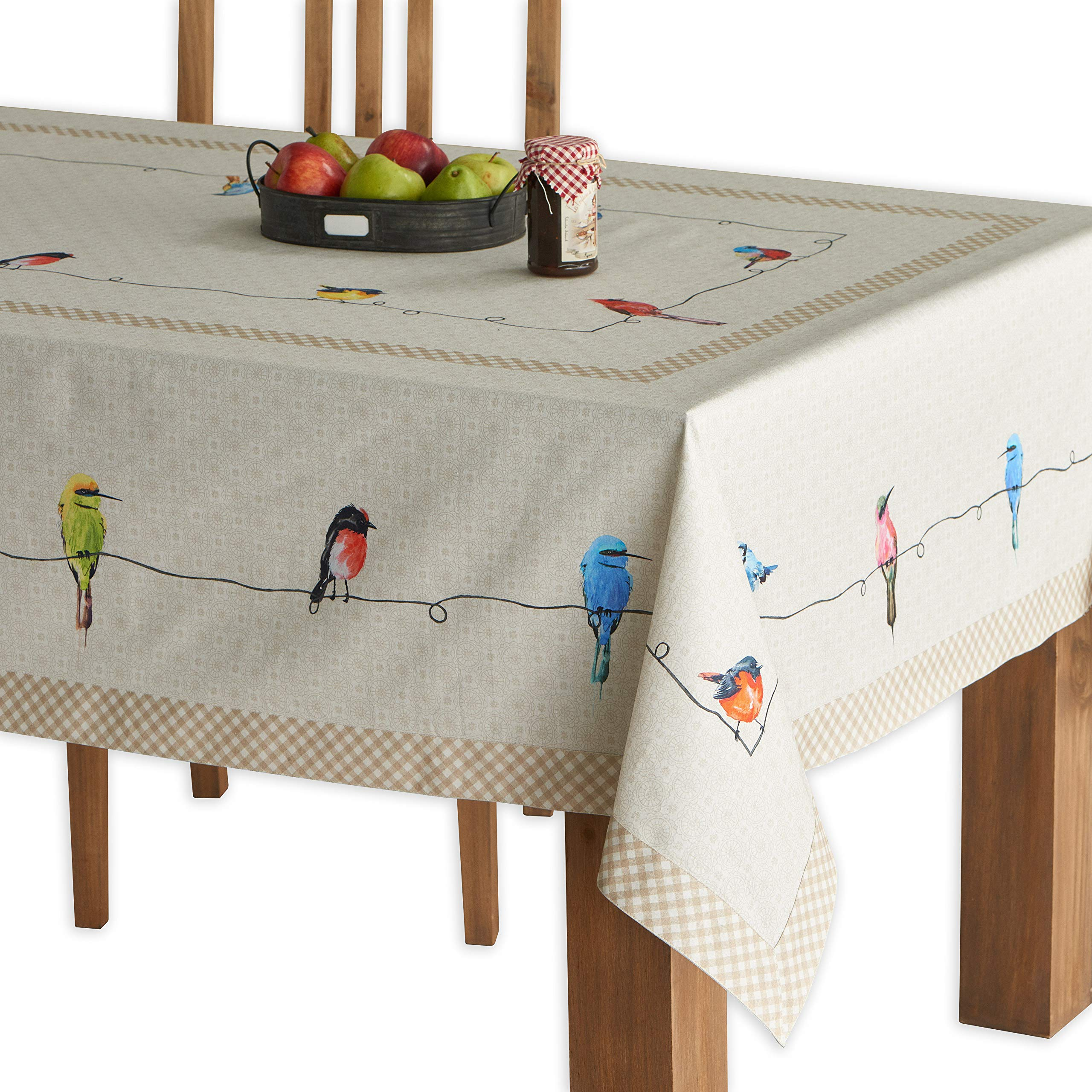 Maison d' Hermine Birdies On Wire 100% Cotton Tablecloth 60 Inch by 120 Inch