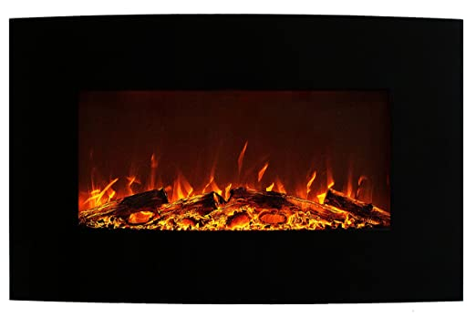 Chimenea eléctrica de pie/pared Glow Fire Jupiter Curved de color negro (sin calefactor, iluminación led de colores, puerta de cristal, regulador de ...