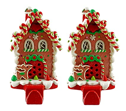 gingerbread house christmas stocking holder set of 2 candy cane lane - Gingerbread House Christmas Decorations