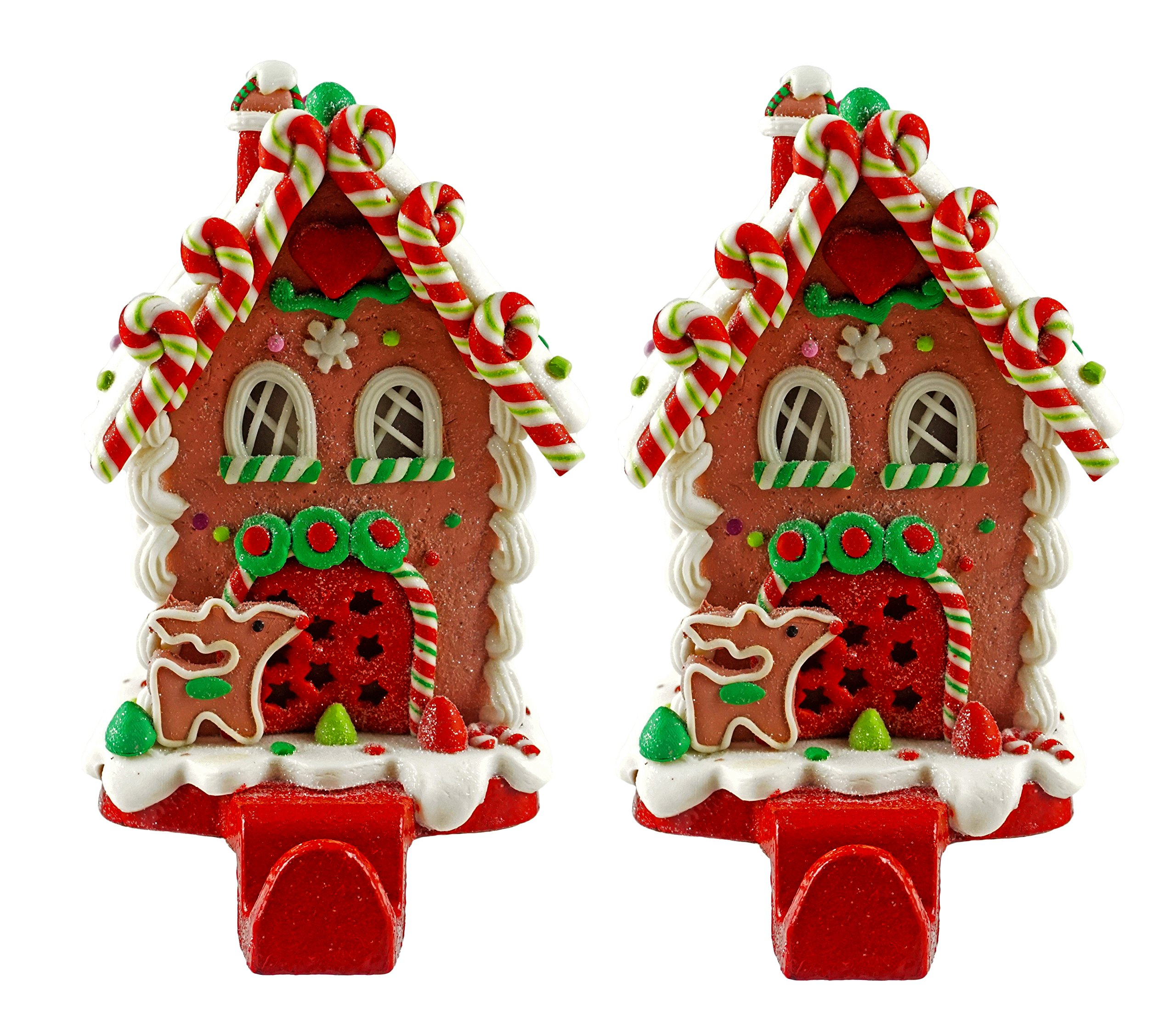 Gingerbread House Christmas Stocking Holder - Set of 2 (Candy Cane Lane) by Caffco