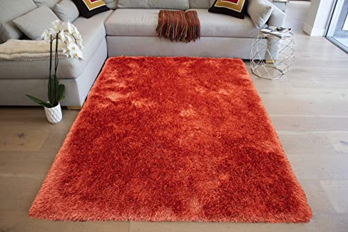 LA Epic Thick Thin Pile Soft Fluffy Furry Hairy Large Plush Contemporary Braided Shag Shaggy 8-Feet-by-10-Feet Polyester Made Area Rug Carpet Rug Orange Color