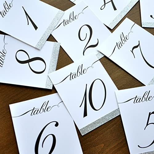 Table Number Signs 1 10 Silver Wedding Numbers Calligraphy