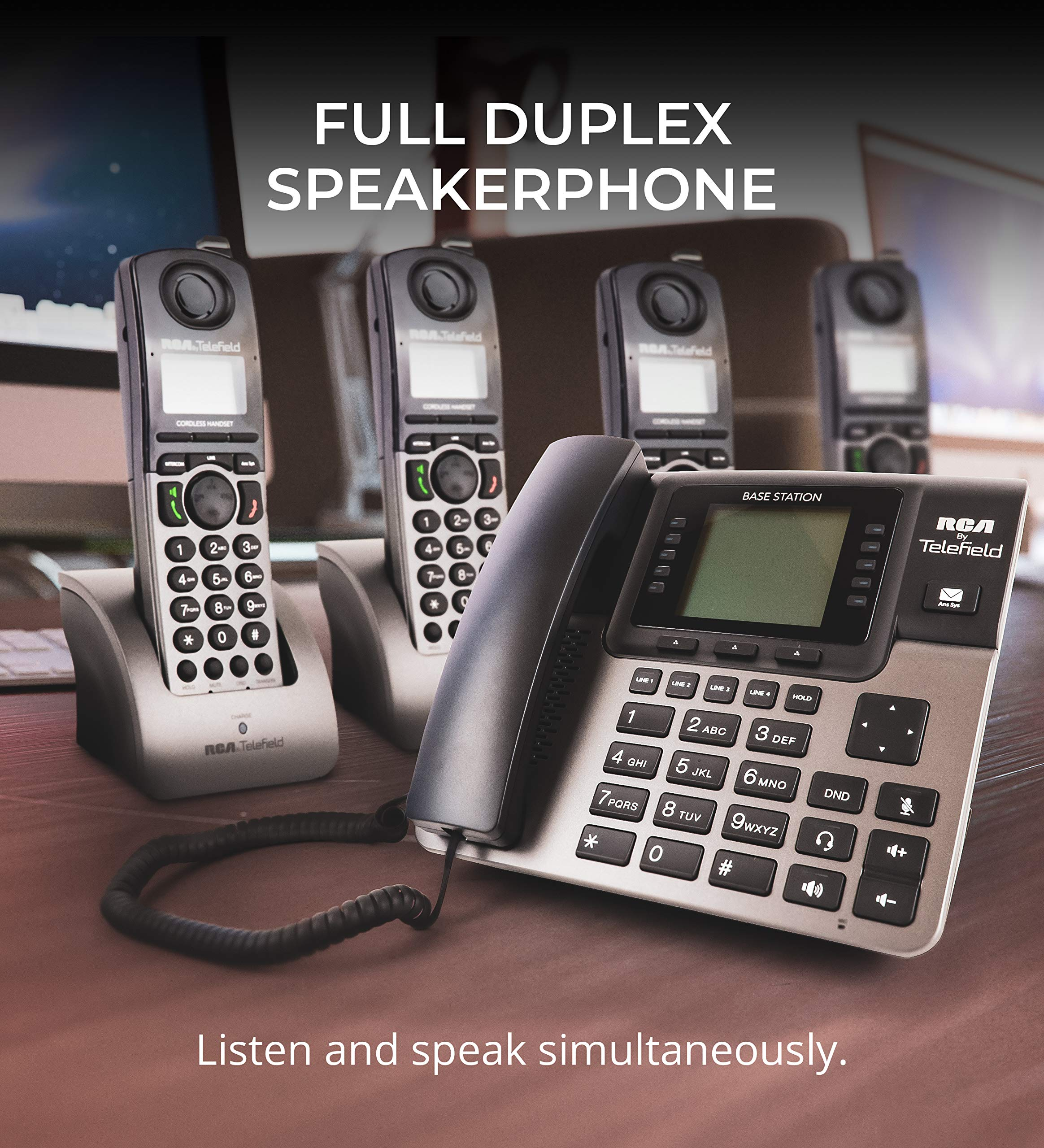 RCA U1000 Unison 4-Line Expandable Phone System - Full-Duplex Speakerphone Bundle with RCA U1200 DECT 6.0 Cordless Accessory Handsets (4-Pack) and 6 Blucoil AAA Batteries by blucoil (Image #7)
