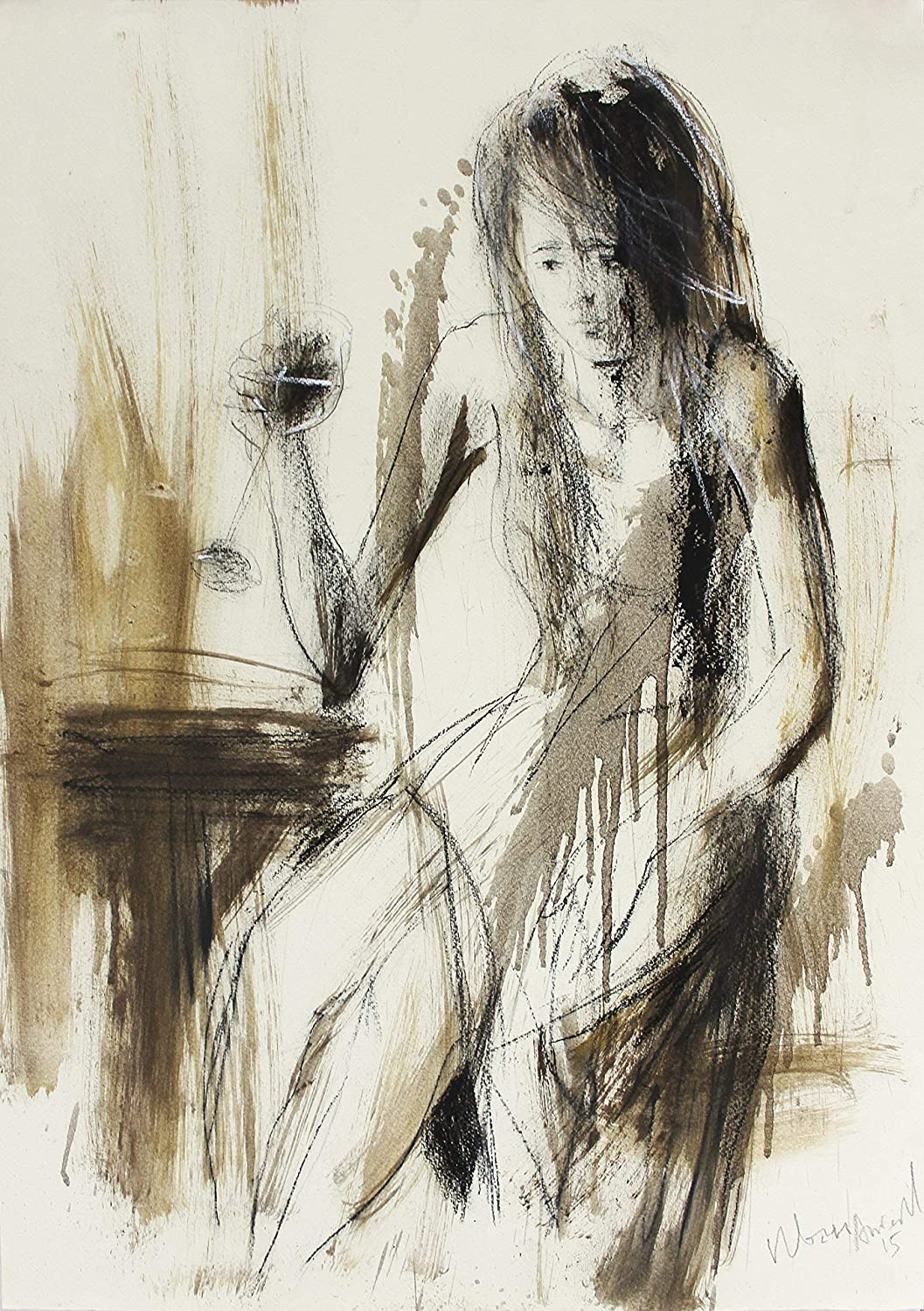 Woman drawing Print, Glass of wine Wall Art, Female Figure Sketch Poster, Giclee Reproduction