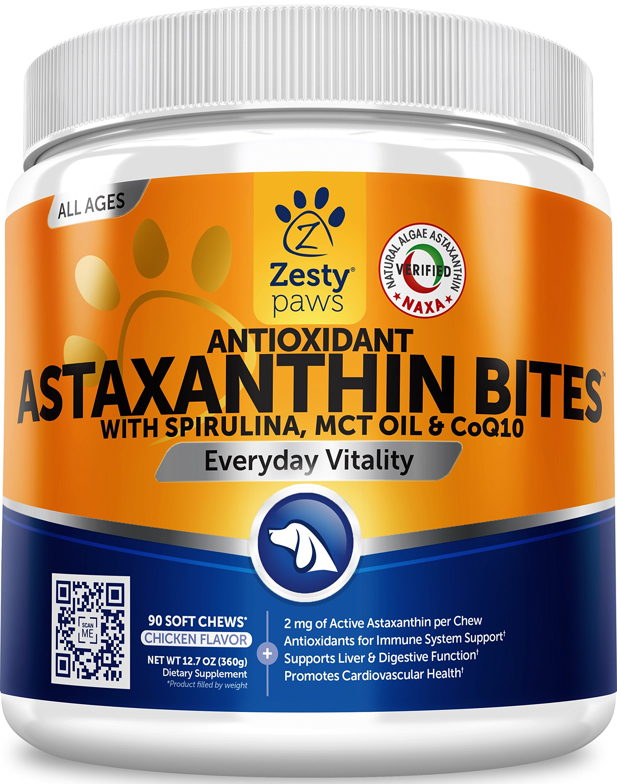 Zesty Paws Antioxidant Astaxanthin for Dogs - Immune, Hip & Joint, Cardiovascular & Digestive Support Supplement - with CoQ10 & Organic Spirulina + Coconut MCT Oil & Vitamins E and B12-90 Chew Treats by Zesty Paws