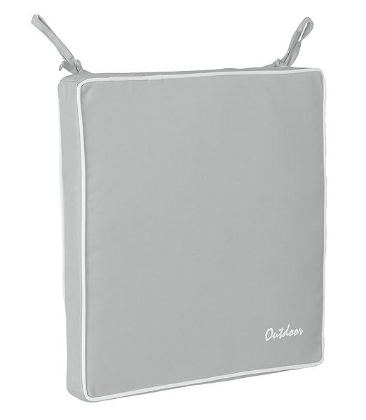 Brandsseller - Cojín para asiento exterior decorativo, repele la suciedad y el agua, relleno de 220 g, - Tamaño: 40 x 40 x 4 cm