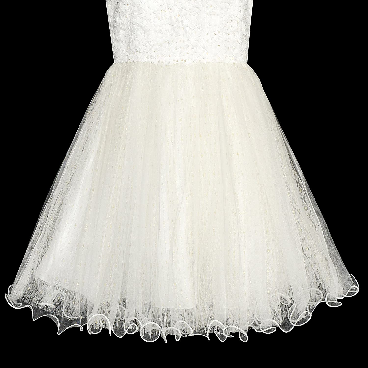 Sunny Fashion Flower Girl Dress Ivory Sequin Bridesmaid Wedding Party Size 6-12