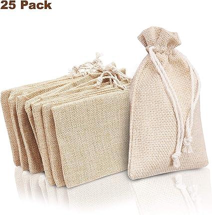 Bolsa de Arpillera (Pack de 25) - (14,2cm x 10,1cm) Bolsa Pequeña ...